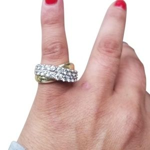 14k White and Gold Sparkly 2 Carats Diamond X Ring
